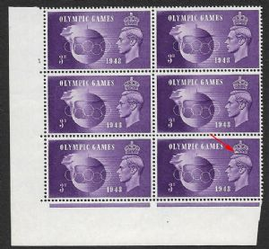 SG496a 1948 Olympic  Games Listed Crown Flaw R20/2 in corner block of 6